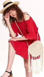 Czerwona sukienka Top Secret mini oversize z długim rękawem