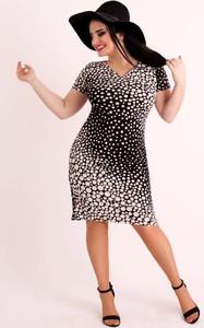 Sukienka Oscar Fashion z dzianiny z dekoltem w kształcie litery v