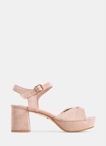 Różowe sandały DeeZee na średnim obcasie