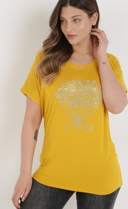 Żółty t-shirt born2be z okrągłym dekoltem