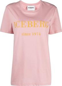 Różowy t-shirt Iceberg w młodzieżowym stylu z okrągłym dekoltem z bawełny