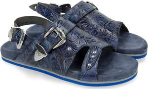 Niebieskie sandały Melvin & Hamilton w stylu casual ze skóry z klamrami