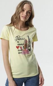 Żółta bluzka born2be w młodzieżowym stylu z krótkim rękawem
