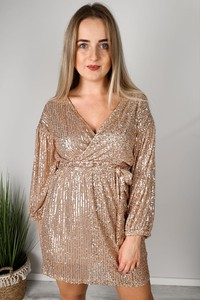 Złota sukienka MON BOUTIQUE z długim rękawem z dekoltem w kształcie litery v