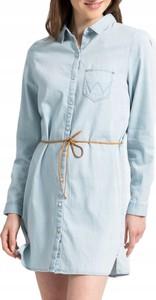 Niebieska sukienka Wrangler z długim rękawem w stylu casual