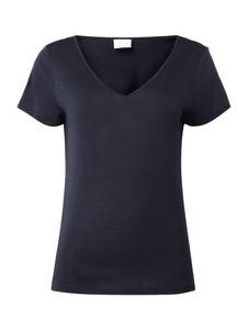 Granatowa bluzka Vila z dekoltem w kształcie litery v z krótkim rękawem