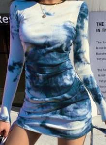 Niebieska sukienka Cikelly mini ołówkowa z długim rękawem
