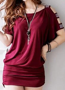 Czerwona sukienka Arilook w stylu casual z bawełny mini