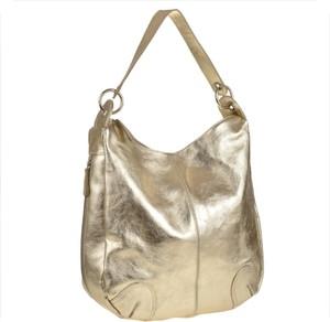 Złota torebka Real Leather ze skóry