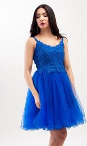 Sukienka Butik Ecru rozkloszowana z dekoltem w kształcie litery v mini