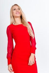 Sukienka Zoio z długim rękawem z okrągłym dekoltem midi