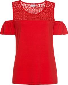 Czerwona bluzka bonprix bodyflirt z krótkim rękawem
