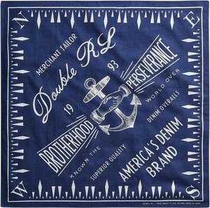 Niebieski szal męski Ralph Lauren z nadrukiem
