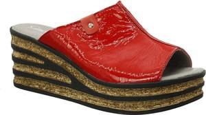 Czerwone klapki Gino Fabiani ze skóry w stylu casual