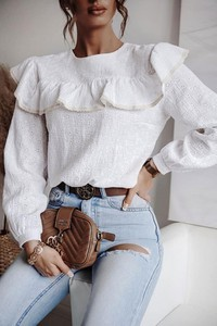 Bluzka Shopaholics Dream z długim rękawem z bawełny