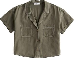 Zielona koszula Hollister Co. w stylu casual z kołnierzykiem z bawełny