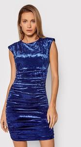 Niebieska sukienka Guess mini z okrągłym dekoltem dopasowana