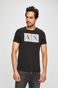 Czarny t-shirt Armani Exchange w młodzieżowym stylu z krótkim rękawem