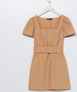 Brązowa sukienka Sinsay mini z krótkim rękawem