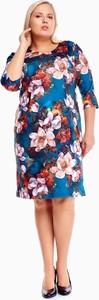 Sukienka Fokus z okrągłym dekoltem dla puszystych z długim rękawem