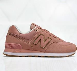 Różowe buty sportowe New Balance sznurowane z płaską podeszwą 574