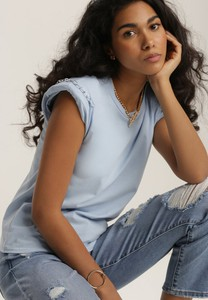 Niebieska bluzka Renee z okrągłym dekoltem