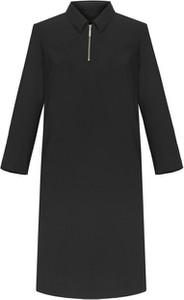 Czarna sukienka VitoVergelis z kołnierzykiem z długim rękawem mini