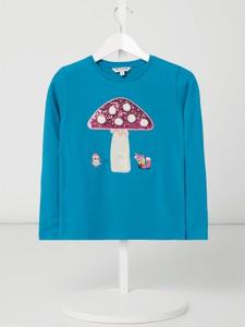 Turkusowa bluzka dziecięca Review For Kids z długim rękawem z bawełny