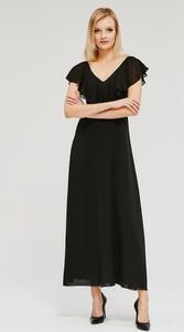 Czarna sukienka Diverse maxi z krótkim rękawem z dekoltem w kształcie litery v