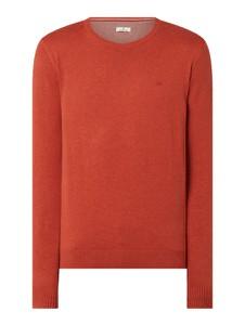 Czerwony sweter Tom Tailor z okrągłym dekoltem z bawełny