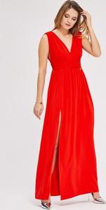Sukienka Diverse z dekoltem w kształcie litery v maxi
