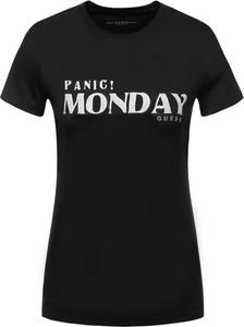 Czarny t-shirt Guess w stylu casual z krótkim rękawem z okrągłym dekoltem