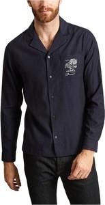 Niebieska koszula Folk w stylu casual z kołnierzykiem button down z długim rękawem