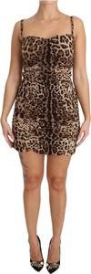Brązowa sukienka Dolce & Gabbana bodycon na ramiączkach mini