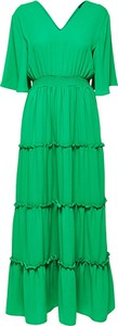 Zielona sukienka Selected Femme maxi z dekoltem w kształcie litery v