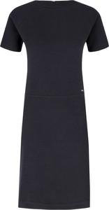Granatowa sukienka Armani Jeans z krótkim rękawem midi