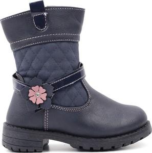 Granatowe buty dziecięce zimowe Yourshoes na zamek
