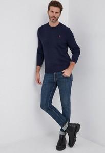 Granatowy sweter POLO RALPH LAUREN w stylu casual z wełny