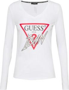 T-shirt Guess z bawełny z okrągłym dekoltem