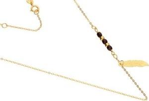 Lovrin Złoty naszyjnik 585 łańcuszek piórko kuleczki 1,05 g