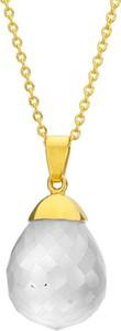 Manoki Naszyjnik damski z białym kwarcem, złoty łańcuszek