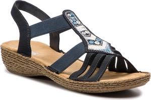 Czarne sandały Rieker ze skóry ekologicznej