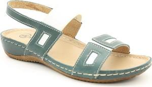 Zielone sandały Helios na niskim obcasie z płaską podeszwą z klamrami