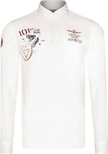 Koszula Aeronautica Militare z bawełny z klasycznym kołnierzykiem z długim rękawem
