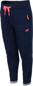 Niebieskie spodnie dziecięce 4F z dzianiny dla dziewczynek