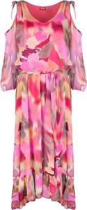 Sukienka WIBS z dekoltem w kształcie litery v z długim rękawem z odkrytymi ramionami