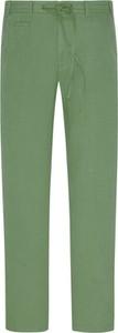Zielone spodnie Cotton Slacks w młodzieżowym stylu z lnu