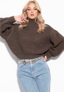 Brązowy sweter Fobya z wełny