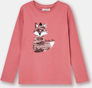 Różowa koszulka dziecięca Sinsay z długim rękawem