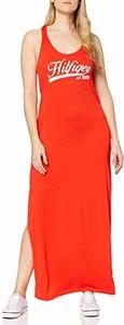 Sukienka Tommy Hilfiger prosta maxi z okrągłym dekoltem